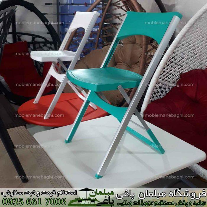 صندلی تاشو مسافرتی با پایه های آلومینیومی بسیار باکیفیت در رنگ های متنوع آبی قرمز و سفید در مرکز پخش صندلی تاشو فروشگاه مبلمان باغی