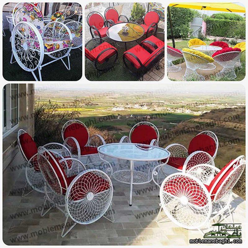 نمونه ای از محصولات مبلمان باغی اورجینال شامل ست مبلمان باغی گلبرگ و مبلمان باغی بامبو از جنس فلز