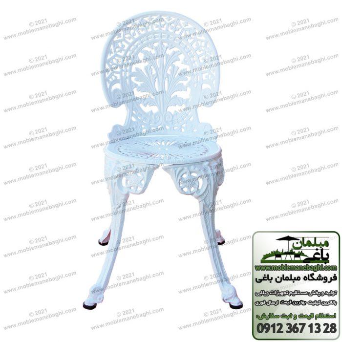 صندلی آلومینیومی مخصوص فضای باز مدل طاووسی دارای ضربه گیر بسیار باکیفیت و طراحی زیبا و مدرن با رنگ سفید