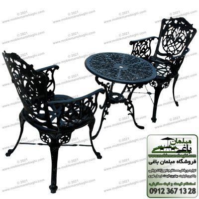 میز و صندلی آلومینیومی مدل مرغابی رنگ مشکی به صورت ست نهارخوری یا صبحانه خوری دونفره مخصوص باغ و فضای باز بسیار شیک و باکیفیت از جنس مبلمان آلومینیومی باکیفیت با قیمت مناسب