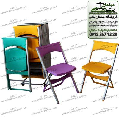 صندلی تاشو پایه آلومینیومی مدل کلاسیک بسیار باکیفیت و قیمت مناسب در مرکز پخش صندلی تاشو مخصوص مسافرت و فضای باز و مناسب رستوران شامل صندلی تاشو نارنجی صندلی تاشو بنفش و صندلی تاشو سبرآبی به همراه رگال مخصوص نگهداری صندلی تاشو با رنگبندیهای متنوع