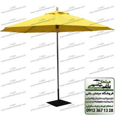 چترباغی رنگ زرد مدل پایه وسط مخصوص فضای باز و میزنهارخوری کنار استخر و باغ و ویلا و روف گاردن چتر باغی با پایه استیل استاندارد و بسیار مقاوم و باقیمت مناسب