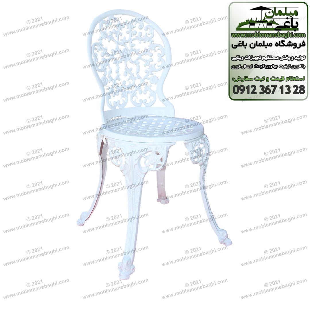 صندلی آلومینیومی مدل مینا یا گل رز به رنگ سفید بسیار زیبا و چشم نواز با طراحی جدید صندلی آلومینیومی مینا مخصوص فضای باز و همچنین به عنوان میز و صندلی دونفره صبحانه خوری شیک