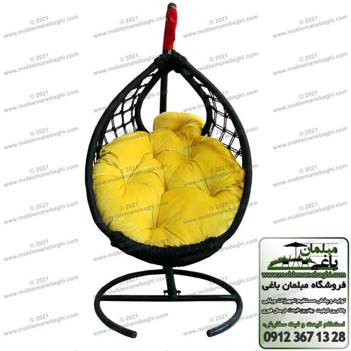 صندلی ریلکسی یا تاب ریلکسی مدل مونیخ از جنس ابریشم درجه یک با رنگ مشکی و تشک ریلکسی رنگ زرد بسیار باکیفت با قیمت مناسب