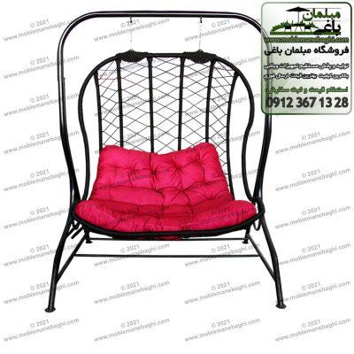 تاب ریلکسی دو منظوره مخصوص فضای باز و باغ و آپارتمان هم به صورت تاب باغی کلاسیک و هم به صورت تاب ریلکسی یا صندلی ریلکسی با تشک رنگ قرمز بسیار زیبا و باکیفیت مدل ریلکسی لاک پشتی