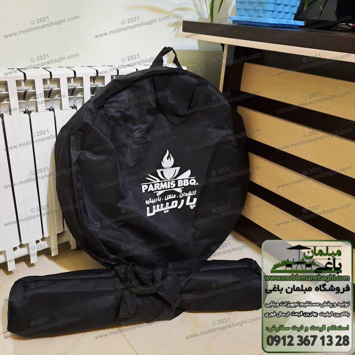 کیف حمل باربیکیو مسافرتی و کبابپز قابل حمل پارمیس شامل دوعدد کیف یکی جهت حمل منقل و درب و دیگری جهت حمل پایهها