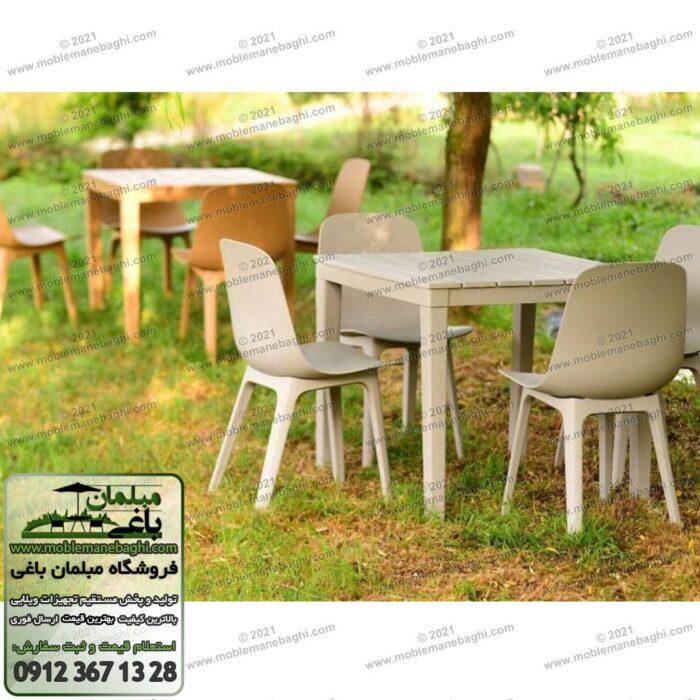 میز و صندلی پلیمری تیکا مخصوص غذاخوری در فضای باز باغ و ویلا بر روی چمن در یک ویلای شیک شامل دو ست چهار نفره میزوصندلی نهارخوری تیکا از جنس پلیمری