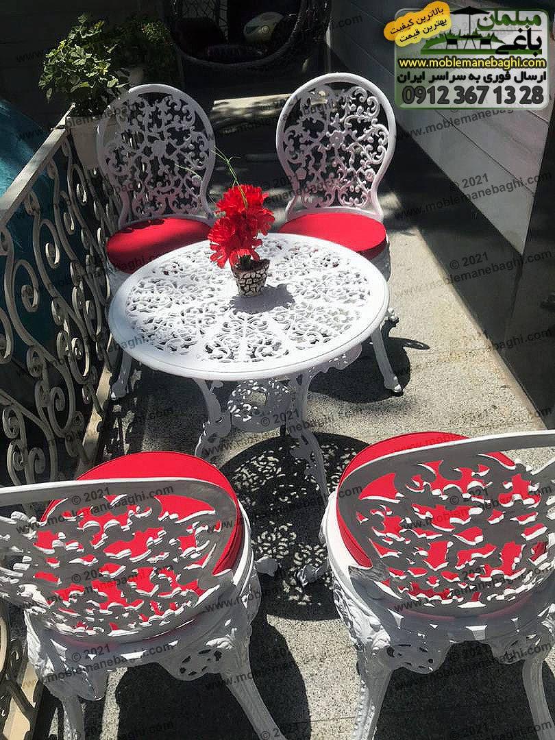 ست چهار نفره مبلمان آلومینیومی مخصوص فضای باز مدل گل رز با تشک قرمز بسیار شیک و زیبا در تراس خانهای ویلایی و شیک در تهران سی متری جی ارسالی مشتری مبلمان باغی