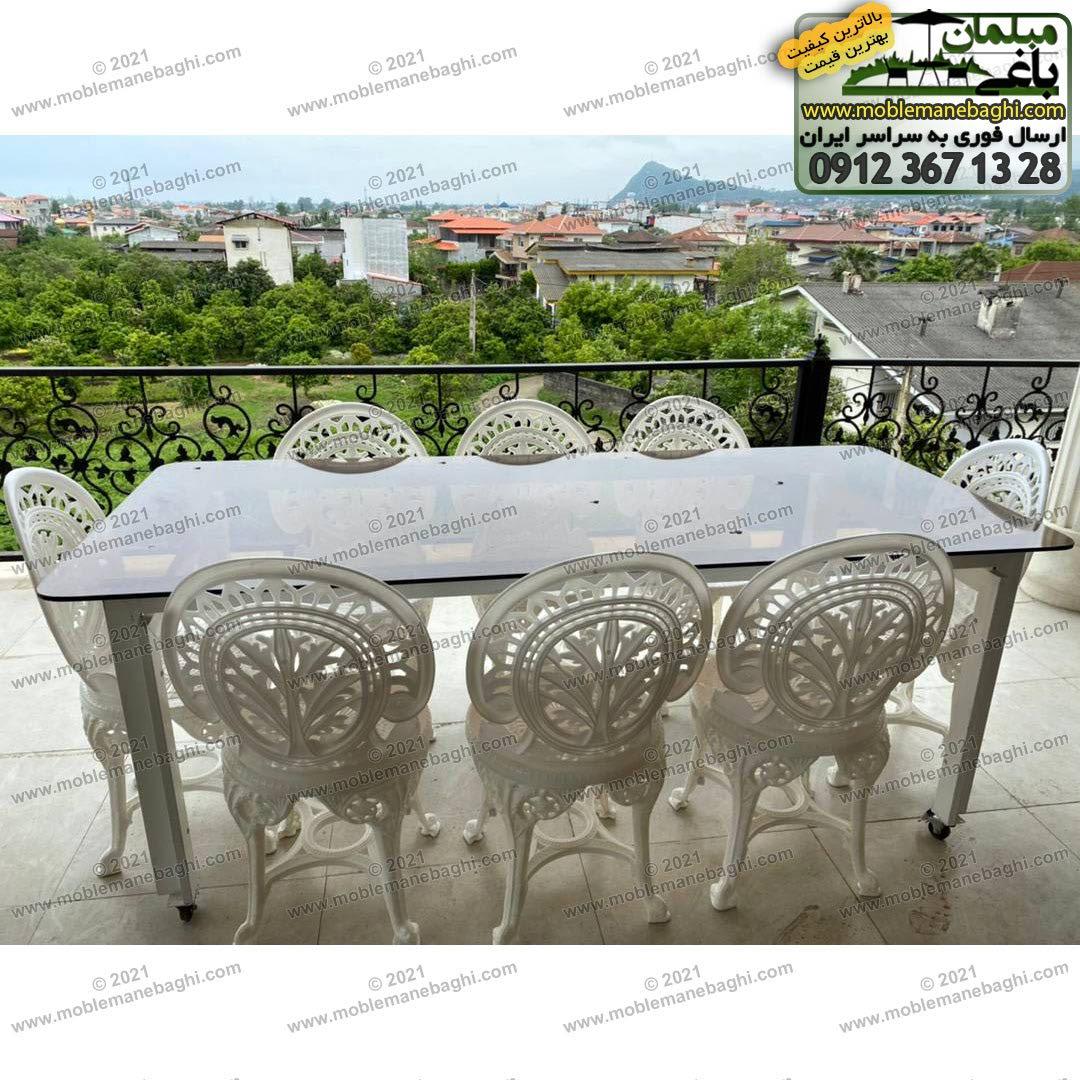 ست هشت نفره مبلمان پلیمری مدل طاووسی مخصوص فضای باز شامل صندلی پلیمری طاووسی به همراه میز نهارخوری هشت نفره ست مبلمان پلیمری در تراس ویلایی شیک در مازندران شهر رامسر ارسالی مشتری