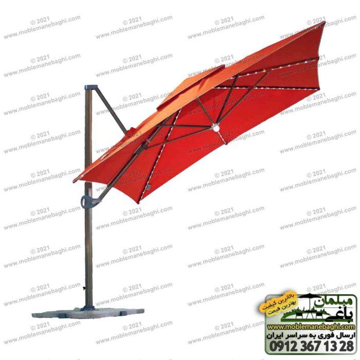 چتر پایه کنار مدرن با قابلیت تنظیم دقیق سایه بان به رنگ نارنجی و طرح سایه بان مربع سه متری