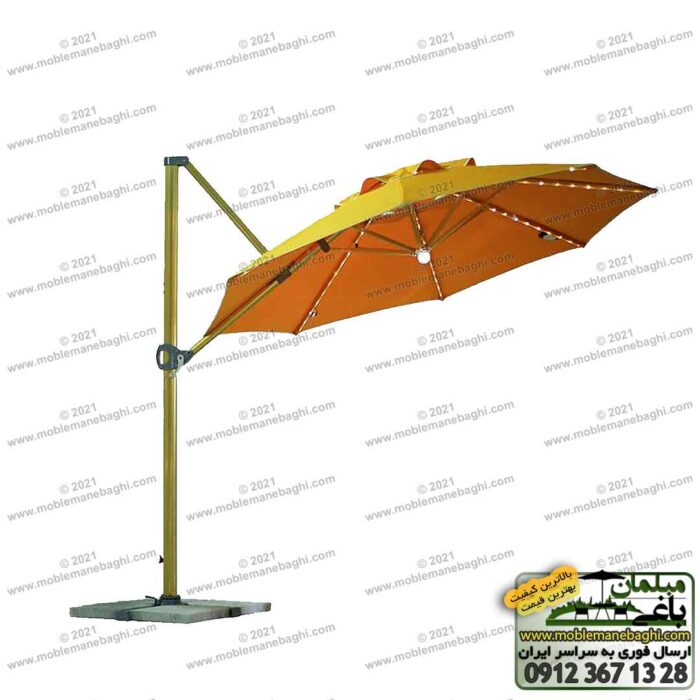 چتر پایه کنار با طرح سایه بان هشت ضلعی با رنگ نارنجی و قابلیت تنظیم دقیق سایه بان مناسب ویلا و روف گاردن