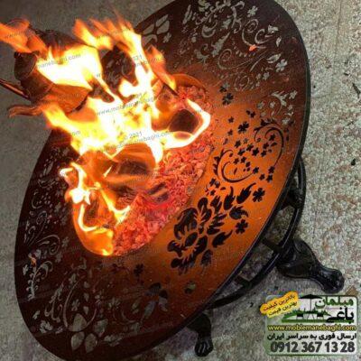 میز آتشدان گرد ذغالی یا هیزمی سایز بزرک مخصوص ست مبلمان فضای باز